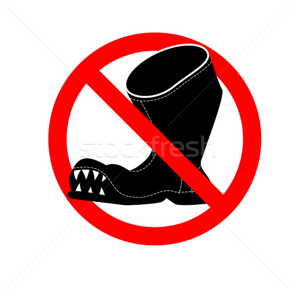 Stop broken shoes. Leaky shoes ban. Red mark is prohibited. Stock photo © MaryValery