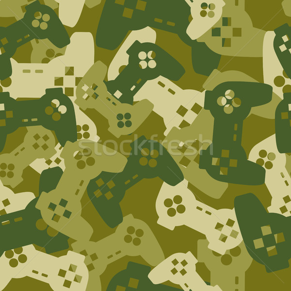 Military texture from gaming joysticks. Army seamless pattern ga Stock photo © MaryValery