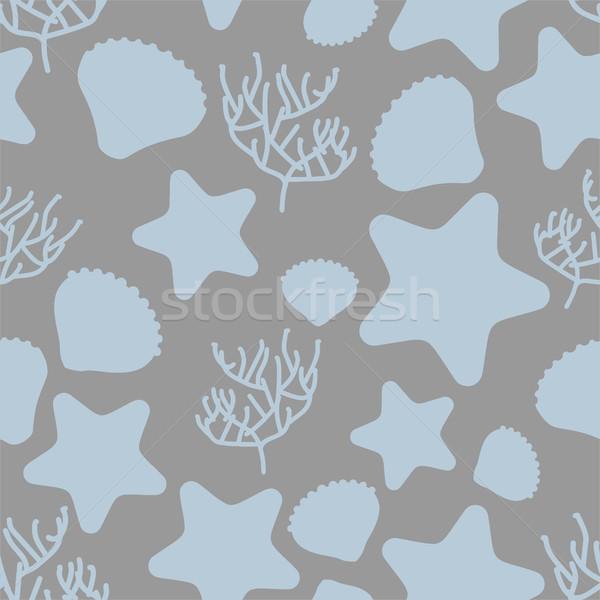 Underwater world seamless pattern. Silhouettes of marine life: s Stock photo © MaryValery