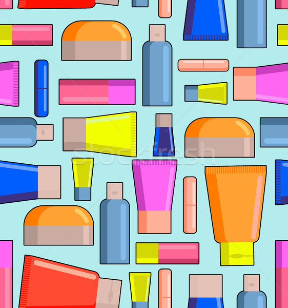 Means for care of body seamless pattern. Pots, creams and lipsti Stock photo © MaryValery