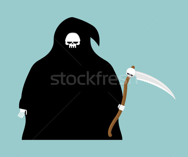 fat Grim Reaper with scythe isolated. Death in hood on white bac Stock photo © MaryValery