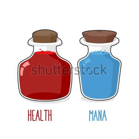 bottle Health games. Transparent Glass Bank with ancient magical Stock photo © MaryValery
