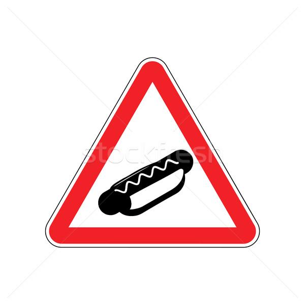 Uwaga hot dog czerwony znak drogowy fast food ostrożność Zdjęcia stock © MaryValery