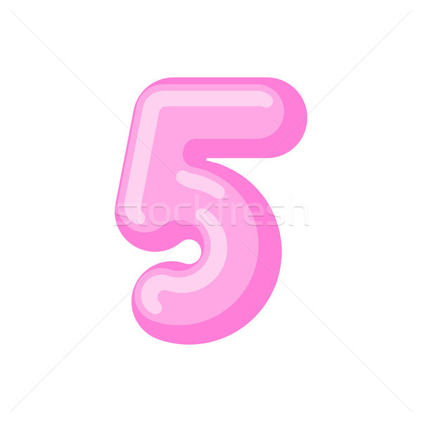 Number 5 candy font. Caramel alphabet five. lollipop lettering.  Stock photo © MaryValery