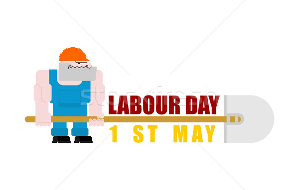 Labor Day logo. Workers and shovels. Sign for holiday. Hand tool Stock photo © MaryValery