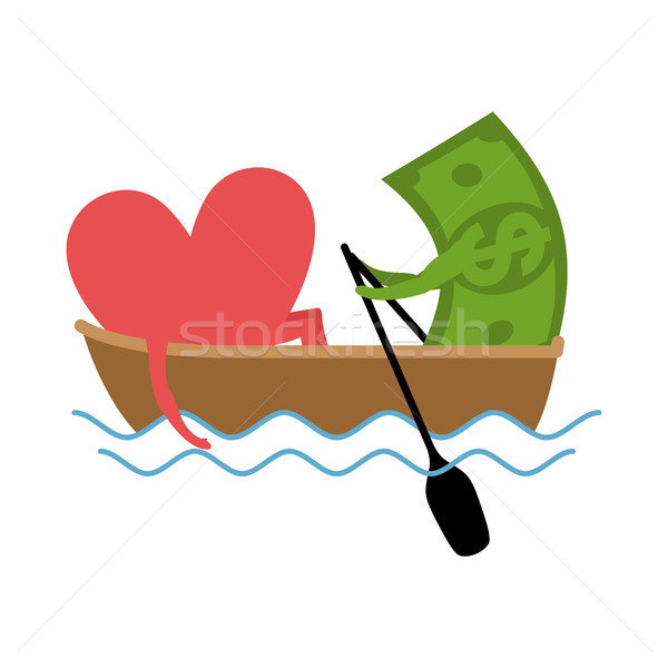Love and money Ride in boat. Selling love. Dollar and heart  Stock photo © MaryValery