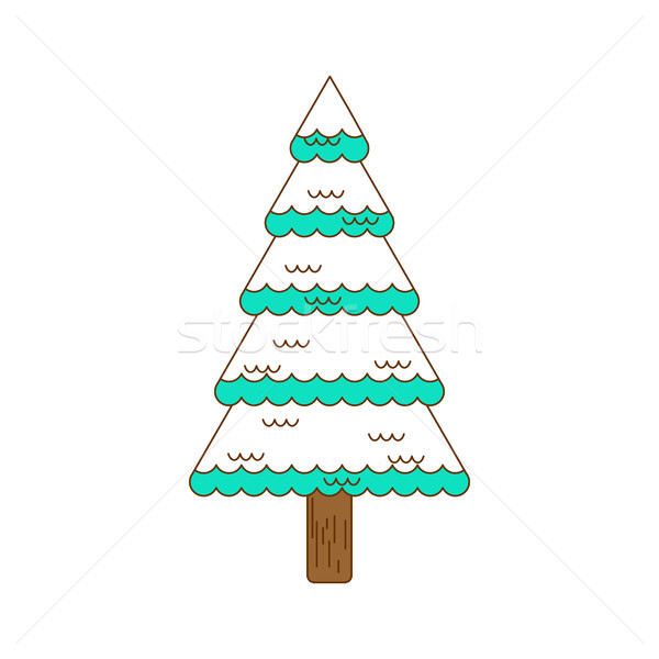 Stock photo: Winter spruce line style. Fir forest in winter. Christmas tree i