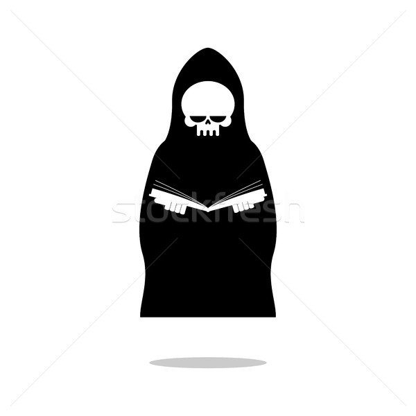 Death of reading book. Grim Reaper in black cloak is reading  Bi Stock photo © MaryValery