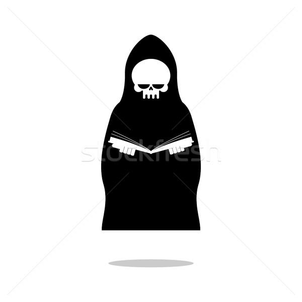 Halál olvas könyv szörnyű fekete köpeny Stock fotó © MaryValery