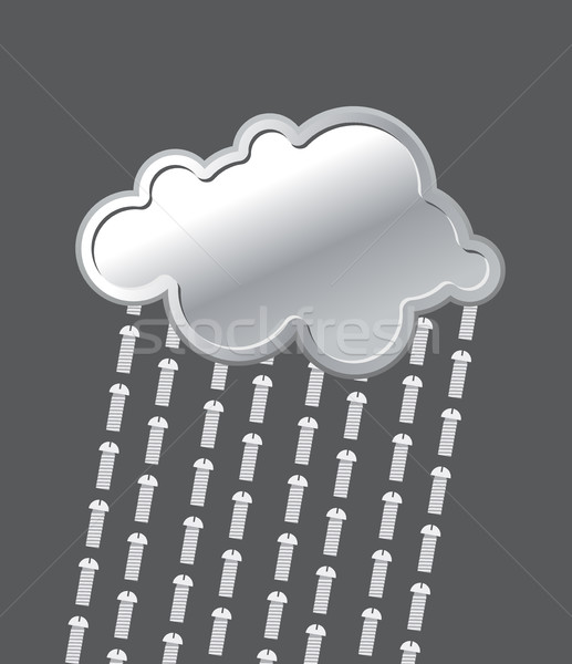 Rain of bolts. Metal, iron cloud. Precipitation of  screws. Vect Stock photo © MaryValery