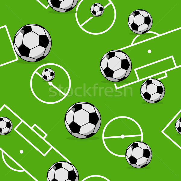 Soccer ball seamless pattern. Sports accessory ornament. Footbal Stock photo © MaryValery