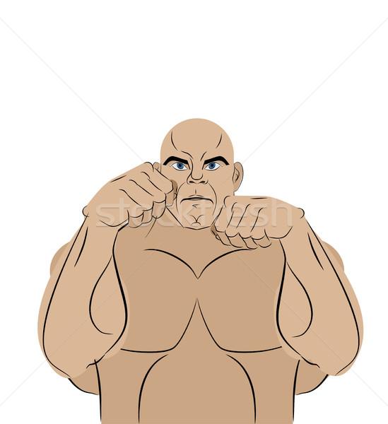 Kämpfer weiß starken Mann Schlacht Rack Stock foto © MaryValery