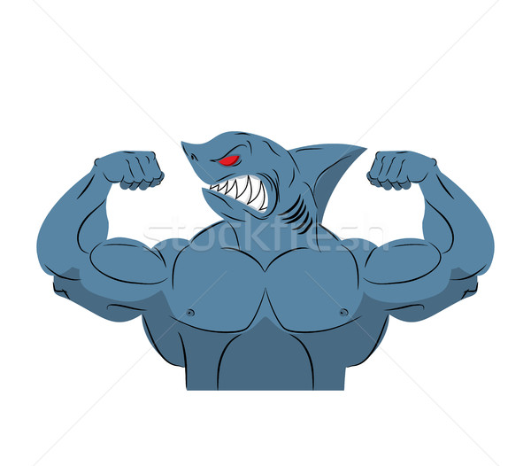 Strong shark athlete. Fish bodybuilder with huge muscles. Sports Stock photo © MaryValery