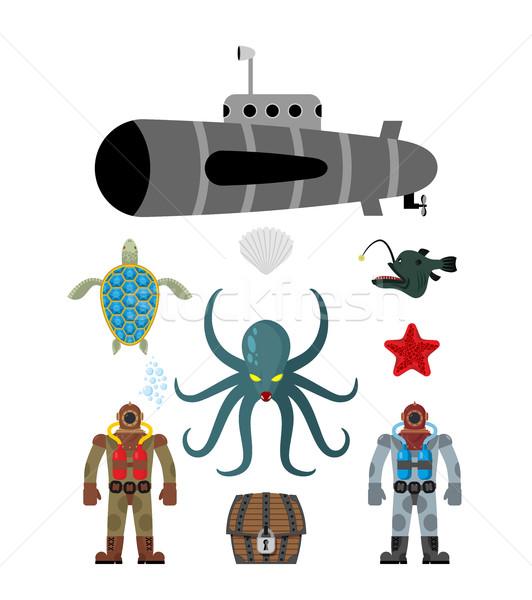 Marine set simbolo polpo sottomarino Foto d'archivio © MaryValery