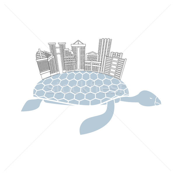 Metropolis on shell water turtles. City skyscrapers and office b Stock photo © MaryValery