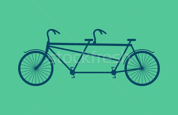 тандем велосипед изолированный Vintage велосипедов зеленый Сток-фото © MaryValery