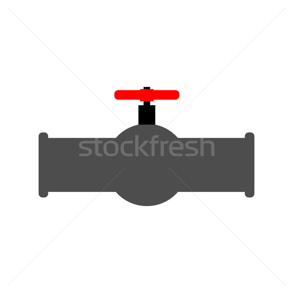 Oil piping and red valve. Water tap and tube.  Stock photo © MaryValery