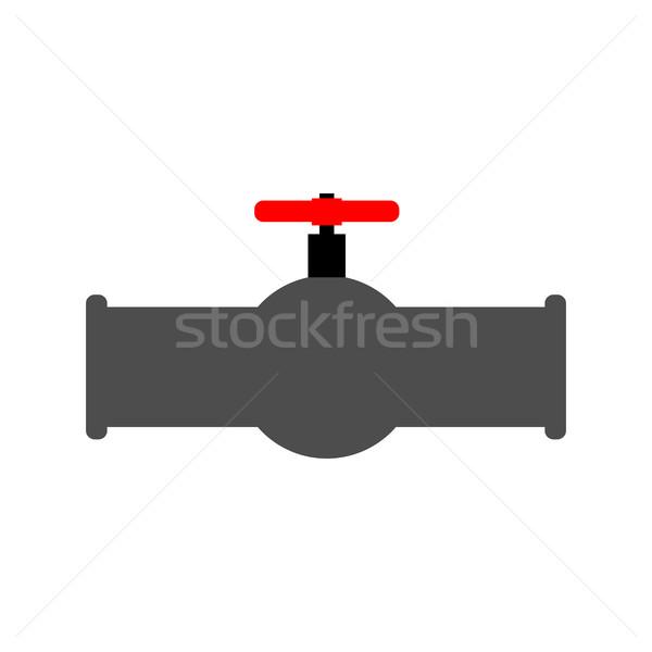Yağ kırmızı valf su musluğunu tüp su Stok fotoğraf © MaryValery