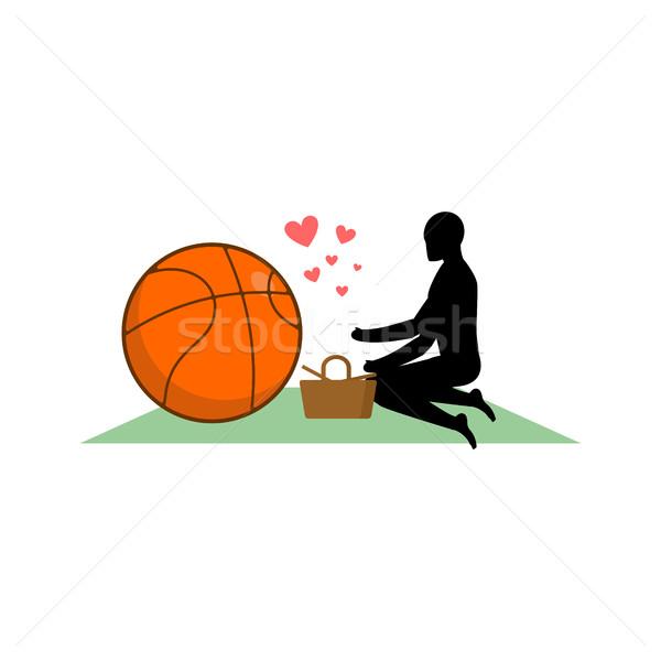 баскетбол парень мяча пикника еды Сток-фото © MaryValery