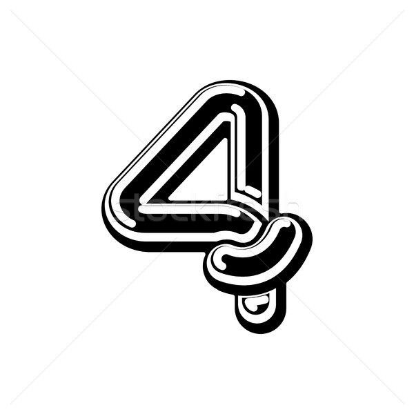 Stock photo: Number 4 Celtic font. norse medieval ornament ABC sign four. Tra