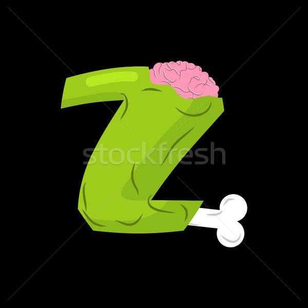 Letter Z zombie font. Monster alphabet. Bones and brains letteri Stock photo © MaryValery
