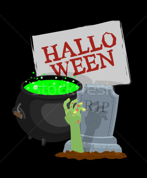 Halloween sjabloon pot magisch hand zombie Stockfoto © MaryValery