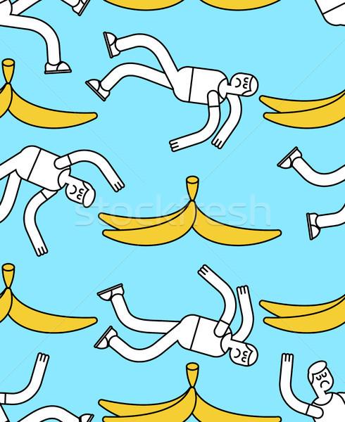 Fall on banana seamless pattern. Slip on banana peel background. Stock photo © MaryValery