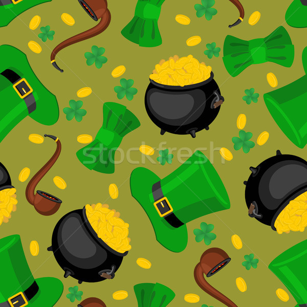 St. Patrick's Day seamless pattern. Leprechaun hat and gold. bow Stock photo © MaryValery