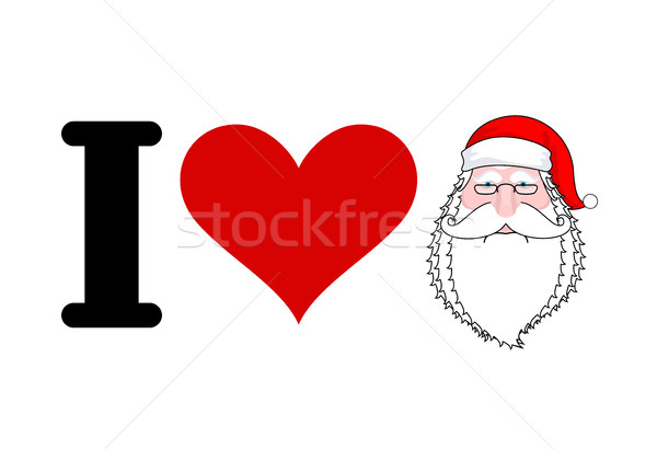 I love Santa Claus. Heart and face of Santa. I Like Christmas an Stock photo © MaryValery