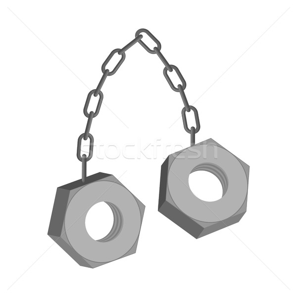 iron Nuts on chain isolated. Two screw-nut hang Stock photo © MaryValery