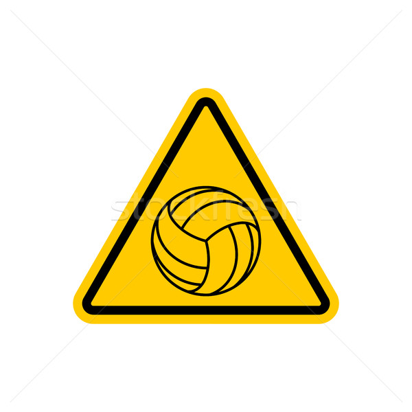 Attention volleyball danger jaune panneau routier jeux Photo stock © MaryValery