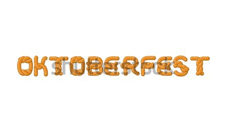 Oktoberfest lettering. Pretzel font. Bake snack alphabet. Tradit Stock photo © MaryValery