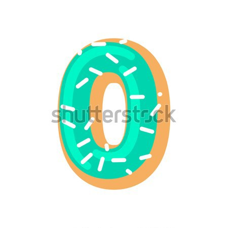 Number 0 donut. Doughnut font zero. Sweet alphabet. candy letter Stock photo © MaryValery