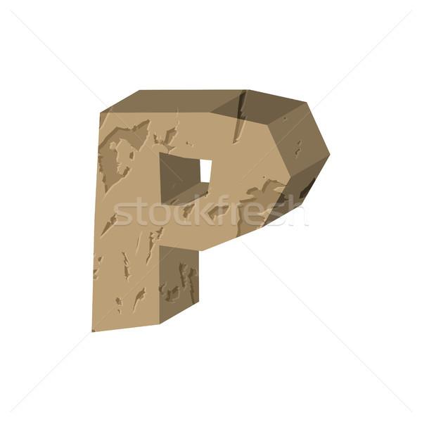 Letter P stone font. Rock alphabet symbol. Stones crag ABC sign Stock photo © MaryValery