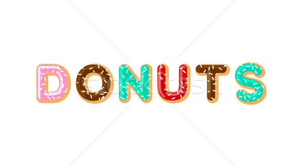 Donuts typography. pie alphabet. Baked in oil letters. Chocolate Stock photo © MaryValery