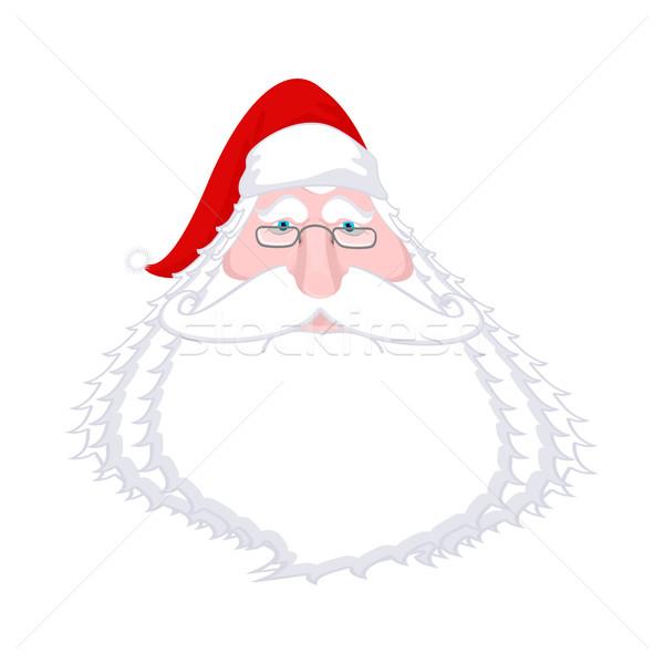 Papá noel cara aislado Navidad abuelo blanco Foto stock © MaryValery