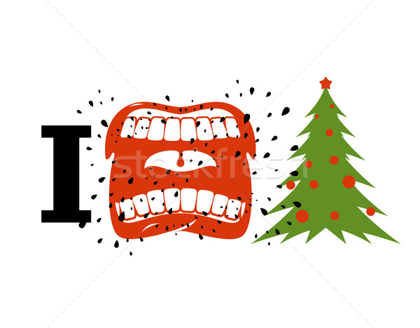 I hate Christmas. shout symbol of hatred and Christmas tree. Agg Stock photo © MaryValery