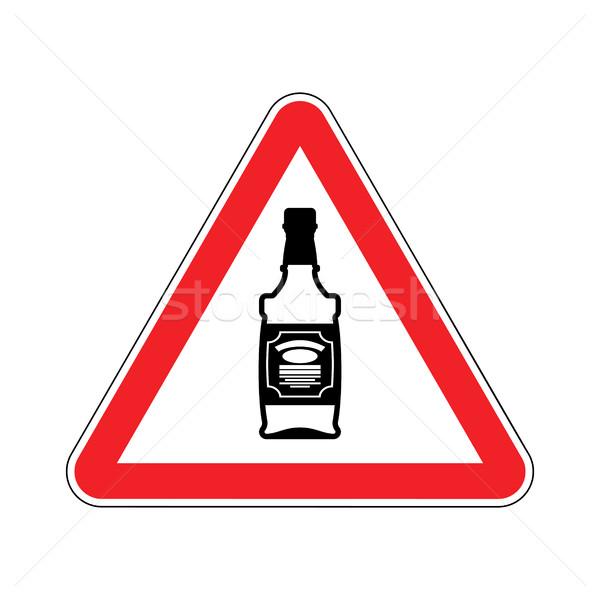 Aandacht alcohol fles whiskey Rood driehoek Stockfoto © MaryValery
