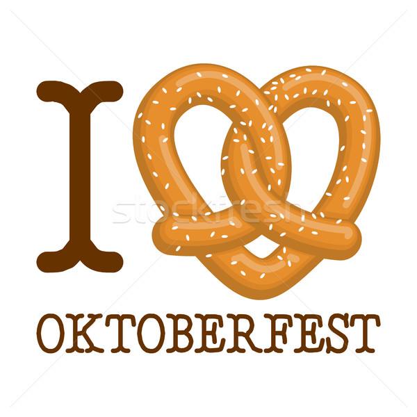 Miłości oktoberfest precel serca żywności Zdjęcia stock © MaryValery