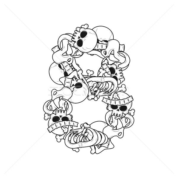 Number 8 skeleton. Bones Font eight. Anatomy of an alphabet symb Stock photo © MaryValery