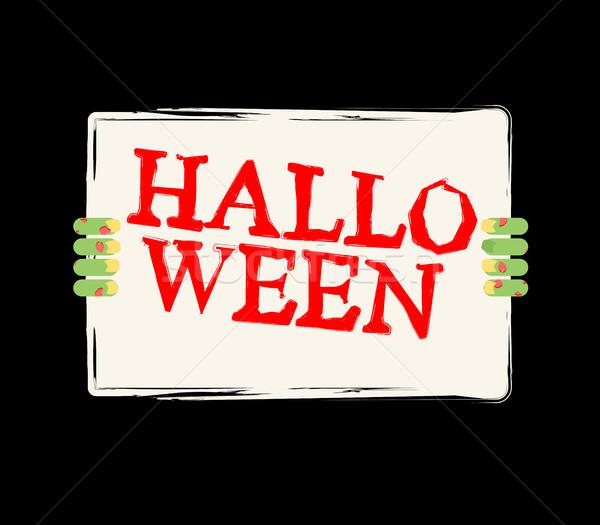 Хэллоуин зомби стороны белый лист Сток-фото © MaryValery