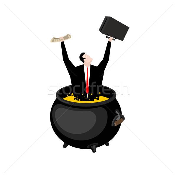 üzletember üst főnök pokol forró olaj Stock fotó © MaryValery