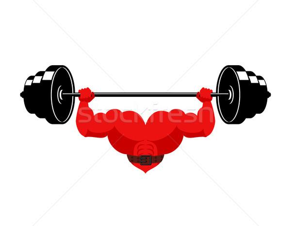 Sterke hart barbell krachtig liefde atleet Stockfoto © MaryValery
