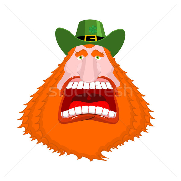 Leprechaun scream. Open mouth. Scary angry dwarf for St. Patrick Stock photo © MaryValery