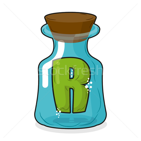 R in  magic jar. Letter to a lab for tests and research bottle.  Stock photo © MaryValery