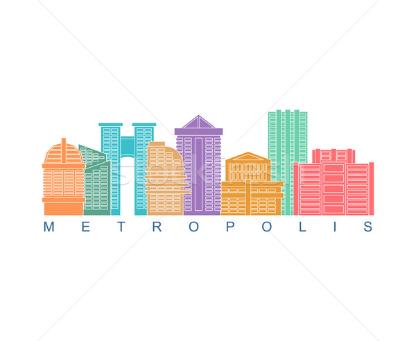 Metropolis building color logo. Skyscrapers emblem for business  Stock photo © MaryValery