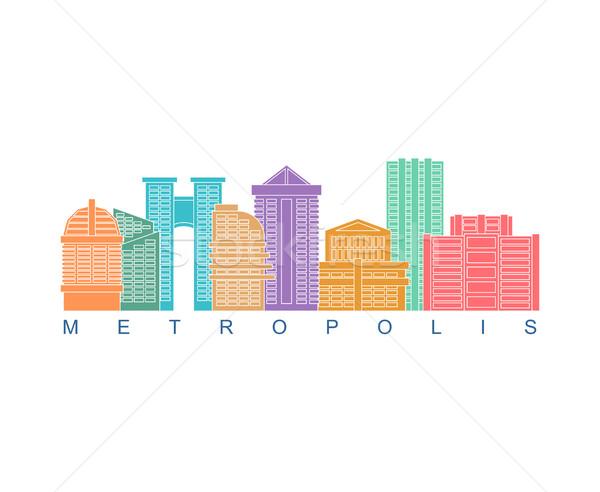 Stockfoto: Metropolis · gebouw · kleur · logo · wolkenkrabbers · embleem