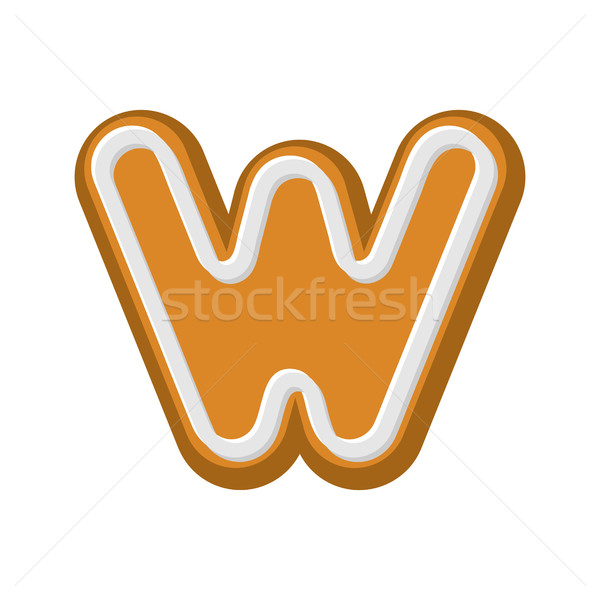 Letter W Gingerbread. Peppermint honey-cake font. Cookies alphab Stock photo © MaryValery