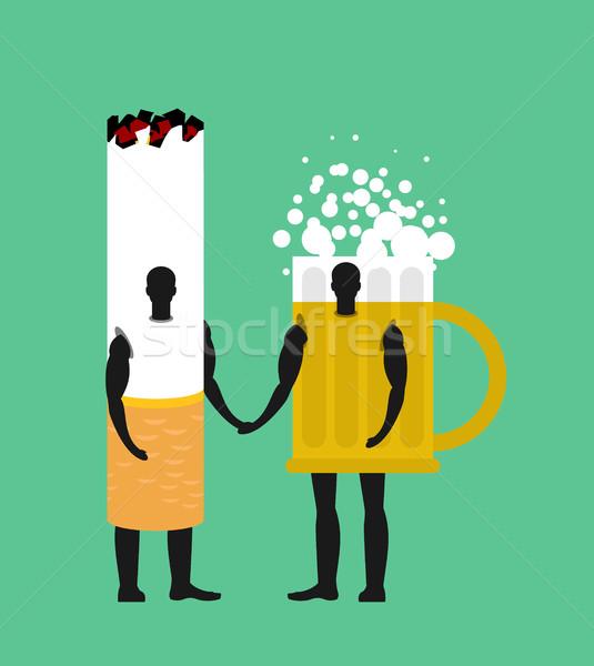 сигарету пива кружка друзей дружбы алкоголя Сток-фото © MaryValery