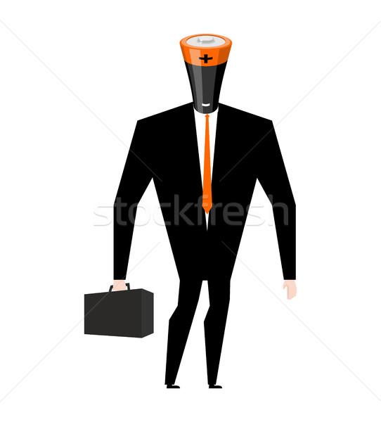 Battery businessman. Boss accumulator in business suit. Tie and  Stock photo © MaryValery